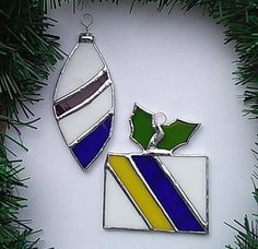 2 Stained Glass Christmas Ornaments for one Price Tree