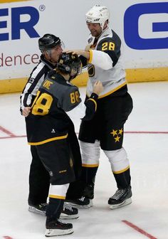 """Patrick Kane and John Scott """"Fight"""" All Star Game 2016. Looks like when NHLers play-fight with their kids."""