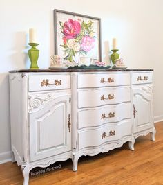 Annie Sloan chalk paint pure white with a hint of green. French Country Furniture, Farmhouse Furniture, White Furniture, Painted Furniture, Annie Sloan Chalk Paint Pure White, Smart Home Switches, Google Home Assistant, 12v Led Lights, Garage Door Remote