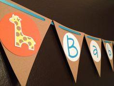 Zoo animal baby shower banner. $24.00, via Etsy.