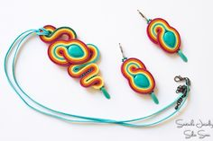 Rainbow Soutache Set - Earrings and Pendant with Turquoise