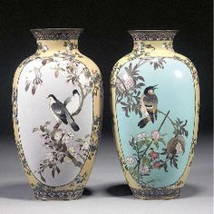 matched pair of Japanese cloisonne vases Meiji Period Japanese Vase, Japanese Porcelain, Porcelain Jewelry, Porcelain Vase, China Painting, Ceramic Painting, Vase Centerpieces, Vases Decor, Clear Glass Vases