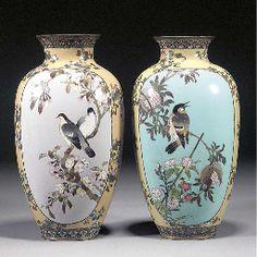 matched pair of Japanese cloisonne vases Meiji Period Vase Centerpieces, Vases Decor, Art Decor, Decoration, Japanese Vase, Japanese Porcelain, Porcelain Jewelry, Porcelain Vase, China Painting