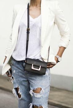 Wear white over white paired with some ripped denim! Via fashion-landscape  Tee: Linen, Jeans: Zara, Blazer: Zara