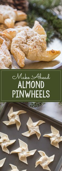 The perfect make ahead Christmas breakfast idea, using pre-made frozen puff pastry dough and a homemade almond filling. These Almond Pinwheels are heavenly!