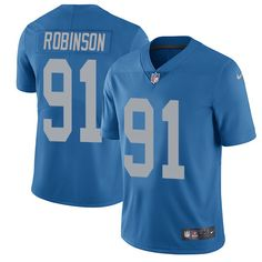 Nike Lions #91 A'Shawn Robinson Blue Throwback Men's Stitched NFL Limited Jersey