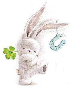 ** il faut mettre toutes les chances de mon coté, bisous et bonne journée ** - Скрапбукинг Bunny Art, Cute Bunny, Baby Bunnies, Cute Drawings, Animal Drawings, Easter Drawings, Cute Images, Cute Pictures, Tatty Teddy