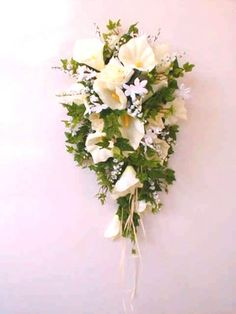Cascading bridal bouquets- soft and delicate.