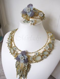 Jewelry set - necklace, bracelet and ring - with antique pieces sea glass and 24K goldplated seed beads