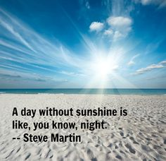 A day without sunshine is like, you know, night. -- Steve Martin #Quotes #Inspiration