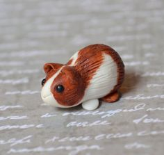 Miniature guinea Pig Red and White Polymer Clay by angcreations, $10.00