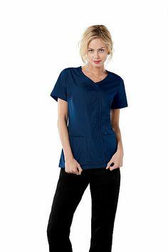 Cherokee Workwear 4747 Mock Warp Top Navy #Cherokee #Nurses #Scrubs #Uniforms #Workwear #Navy #Blue