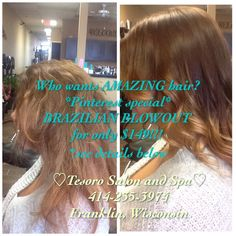 Who doesn't love gorgeous, smooth, frizz-free hair?! PIN IT and receive a Brazilian blowout for $149!  Valid through April 2015  Makeover - balyage ombré and Brazilian blowout  #amazing #tesorosalonandspa #brazilianblowout