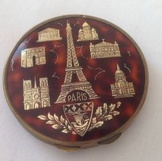 Vintage Powder Compact Faux Tortoiseshell With Paris Landmarks