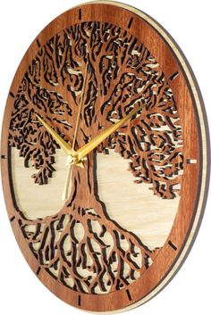 Tree of Life Clock in wood Limited Edition Magical Tree, Laser Cutter Projects, Clock Art, Wood Clocks, Wooden Art, Scroll Saw, Tree Of Life, Wood Carving, Decoration