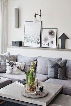 greys and nice coffee table and wall shelf