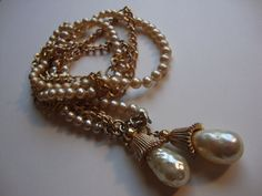 Vintage Sarah Coventry Glass Pearl and Gold Tone by theatticshop, $12.00