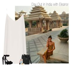 """""""Day Out in India with Eleanor"""" by sophie-188 ❤ liked on Polyvore featuring Raey, Mansur Gavriel, Moschino, MAC Cosmetics, Pieces and KG Kurt Geiger"""