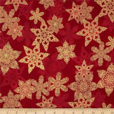 Holiday Flourish Metallic Star Crimson Red from @fabricdotcom  Designed by Peggy Toole for Robert Kaufman, this cotton print fabric is perfect for quilting, apparel and home decor accents. Colors include  red and green. Features gold metallic accents throughout.