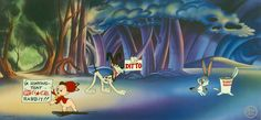 """Set as a parody of Disney's Fantasia, """"A Corny Concerto,"""" quickly called into check all that Disney represented in its thematic bigness. Instead, Bugs, Elmer and his faithful hunting dog, dance about to The Blue Danube in a strangely-mocking and deeply cartoony style. This cartoon has been a favorite of animation buffs since it first appeared in 1943. """"A Corny Concerto"""" is a hand-painted pan cel and background, produced by Bob Clampett Animation Art."""