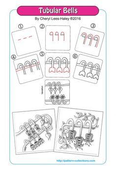 Tubular Bells Tangle, Zentangle Pattern by Cheryl Lees-Haley Zentangle Drawings, Doodles Zentangles, Doodle Drawings, Doodle Art, Zen Doodle, Doodle Patterns, Zentangle Patterns, Mandala Pattern, You Draw