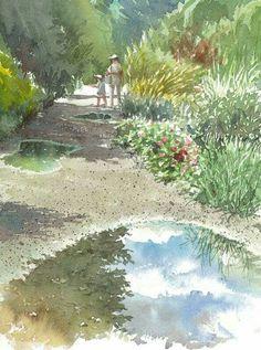 By Takashi Akasaka Watercolor Scenery, Japanese Watercolor, Watercolor Water, Watercolor Art Paintings, Watercolor Pictures, Watercolor Canvas, Watercolor Background, Watercolor Landscape, Landscape Art