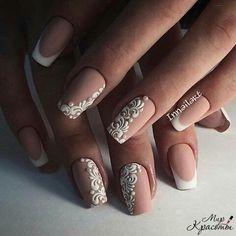 Nail art nailz nails, nails 2016 ve bridal nails Nail Art Design Gallery, Best Nail Art Designs, Fun Nails, Pretty Nails, Lace Nails, Lace Wedding Nails, Lace Nail Art, Wedding Manicure, Beige Wedding