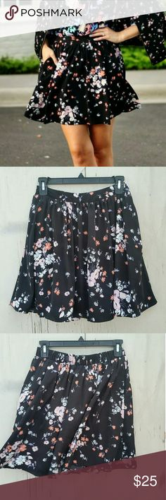 "DONATING SOON MAKE AN OFFER #55 Hi Poshers! I'm selling this adorable LC Floral Skater Skirt! It's size Xs but has elastic on the back part of the waist so it will be very comfy! Such a versatile Floral print also would look so cute with a denim shirt tucked in. measurements are 17.5"" from waist to hem. Waist is 13.5"" flat and about 17"" stretched . Great condition. Lauren Conrad Skirts A-Line or Full"