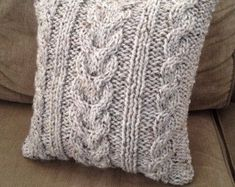 Silver Gray Handmade Cable Knit Pillow cushion by ELITAI on Etsy