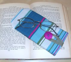 Canvas Eye Glasses Case with button closure by by moodycowdesigns, £6.00