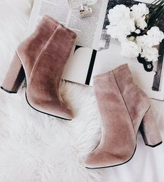 Blush velvet booties #fallstyle