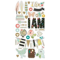 Simple Stories - I AM Collection - Chipboard Stickers with Foil Accents at Scrapbook.com