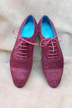 Dominique Saint Paul half brogue shoes in Bordeaux suede.