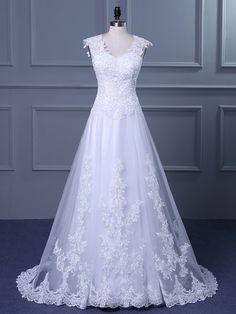 Princess V-neck Tulle Sweep Train with Appliques Lace Wedding Dresses