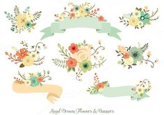 Hand Drawn Flowers  Banners
