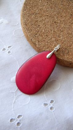 Red Tagua Nut pendant by JulieEllisDesigns on Etsy