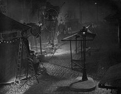 Set photo ~ design by Alexandre Trauner for 'Le quai des brumes' (Port of Shadows), 1938.  Directed by Marcel Carné.