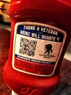 #bizthxvets Scan the QR Code and send your thanks...and Heinz will donate $1 to Wounded Warrior Project.