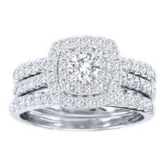 de couer 10k white gold 1 12 ct tdw diamond halo engagement ring set by de couer - Halo Wedding Ring Sets