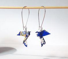 Colombes origami, boucles d'oreilles oiseaux bleus bijou origami papier japonas