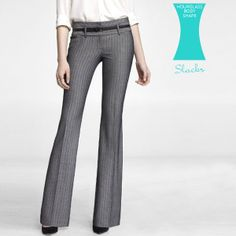 The Best Budget-Friendly Work Clothes for Your Body Shape: Express herringbone Editor pant, $80