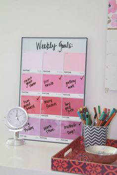 The best part of this DIY task board is that you can change out the color palette as the mood strikes.