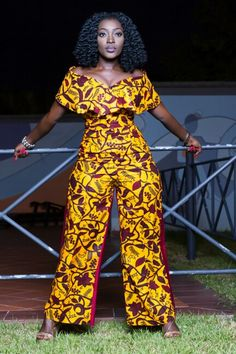 ¤Visit www.etsy.com/shop/MeAyraba to buy¤ Tags: African print ankara jumpsuit. Wide leg pant. Kitenge, African dress, kente, Ghana, west Africa, Nigeria, bellanaija, African wedding, aso ebi dashiki, cape, caped, off shoulder.