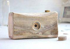 The Handmade Wooden Pinhole Camera Made from Sun-dried Driftwood