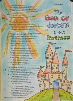 Psalm 46:7 Bible journaling by @peggythibodeau www.peggyart.com