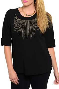 DHStyles Women's Black Plus Size Demure Studded Pattern Quarter Sleeve Top - 3X #sexytops #clubclothes #sexydresses #fashionablesexydress #sexyshirts #sexyclothes #cocktaildresses #clubwear #cheapsexydresses #clubdresses #cheaptops #partytops #partydress #haltertops #cocktaildresses #partydresses #minidress #nightclubclothes #hotfashion #juniorsclothing #cocktaildress #glamclothing #sexytop #womensclothes #clubbingclothes #juniorsclothes #juniorclothes #trendyclothing #minidresses…