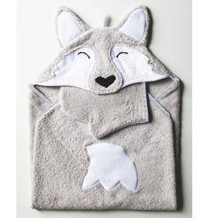 Pilou, la sortie de bain loup pour garder bébé bien au chaud Motifs en polaire brodés sur un tissu éponge 100% coton coloris gris Gant de toilette assorti : face blanche & face grise Finition... sur DaWanda.com <3
