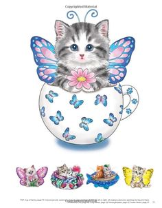 Teacup Kittens Coloring Book (Design Originals) 32 Adorable Expressive-Eyed Cat Designs from Illustrator Kayomi Harai on High-Quality, Extra-Thick Perforated Pages that Resist Bleed Through Cute Little Kittens, Cute Cats And Kittens, Kittens Cutest, Cat Coloring Page, Coloring Books, Teacup Kitten, Art Mignon, Cat Design, Cat Art