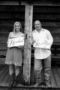 Engagement Photo Props  He asked  She said by WonderfulWords, $37.00
