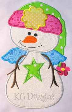 Winter Snowman Machine Embroidery Applique Design  by KCDezigns, $3.50
